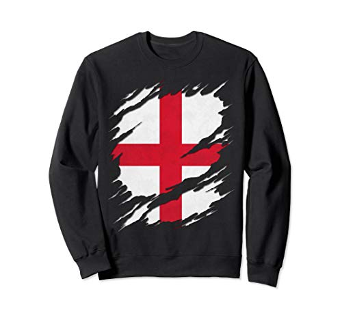 Flag of England St. George's Cross Ripped Reveal Sweatshirt