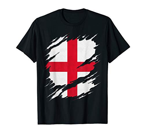 Flag of England St. George's Cross Ripped Reveal T-Shirt
