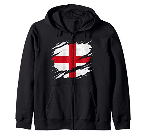 Flag of England St. George's Cross Ripped Reveal Zip Hoodie