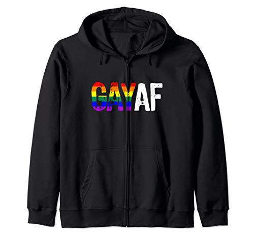 GAY AF Gay as Fuck LGBTQ Pride Flag Zip Hoodie