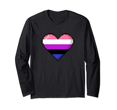 Genderfluid Pride 8-Bit Pixel Heart Long Sleeve T-Shirt