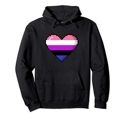 Genderfluid Pride 8-Bit Pixel Heart Pullover Hoodie