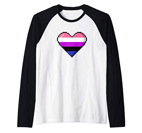 Genderfluid Pride 8-Bit Pixel Heart Raglan Baseball Tee