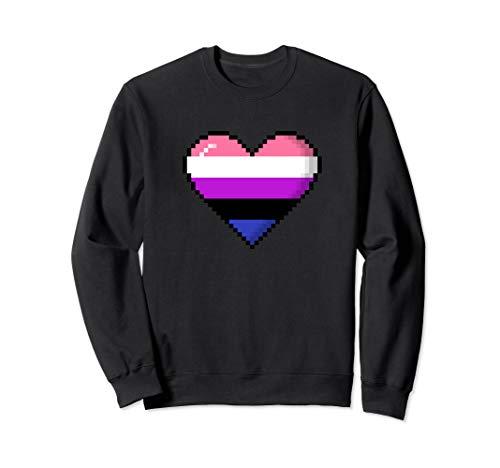 Genderfluid Pride 8-Bit Pixel Heart Sweatshirt