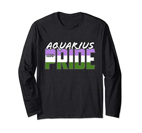 Genderqueer Aquarius Pride Flag Zodiac Sign Long Sleeve T-Shirt