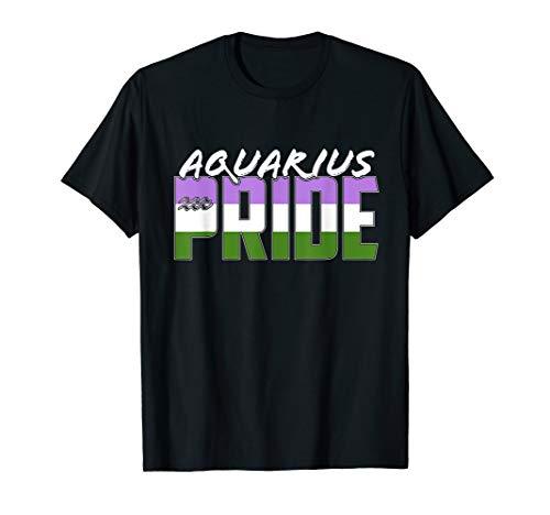 Genderqueer Aquarius Pride Flag Zodiac Sign T-Shirt