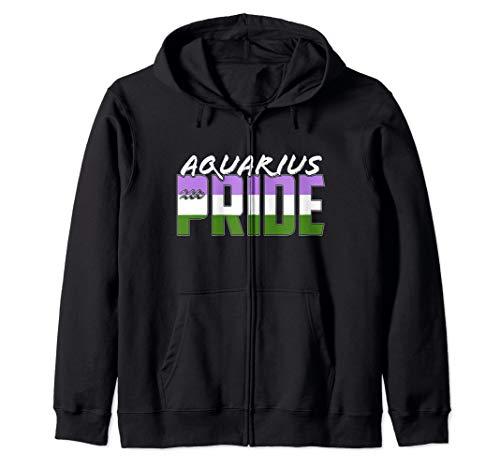 Genderqueer Aquarius Pride Flag Zodiac Sign Zip Hoodie