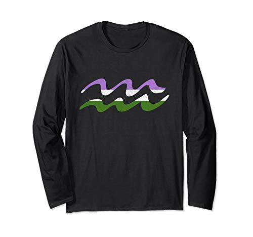 Genderqueer Pride Flag Aquarius Zodiac Sign Long Sleeve T-Shirt