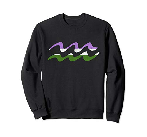 Genderqueer Pride Flag Aquarius Zodiac Sign Sweatshirt
