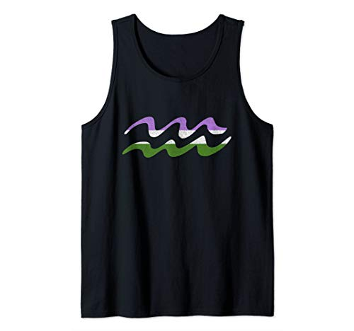 Genderqueer Pride Flag Aquarius Zodiac Sign Tank Top