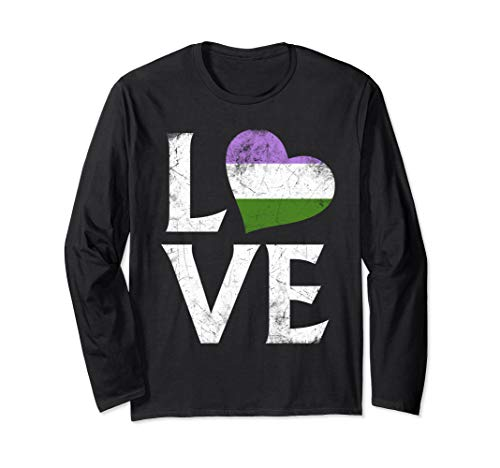 Genderqueer Pride Flag Heart Stacked Love Long Sleeve T-Shirt