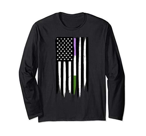 Genderqueer Pride Thin Line American Flag Long Sleeve T-Shirt