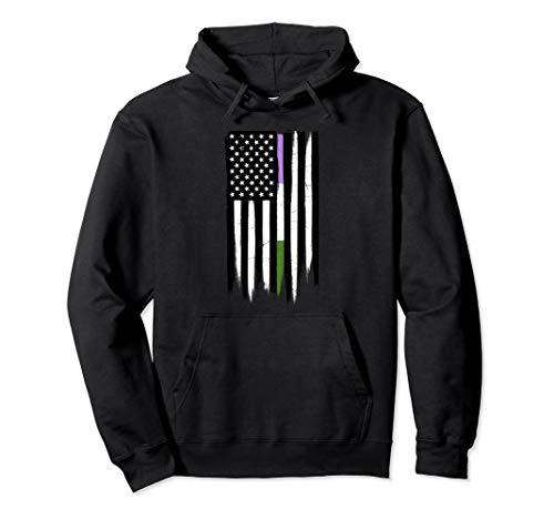 Genderqueer Pride Thin Line American Flag Pullover Hoodie