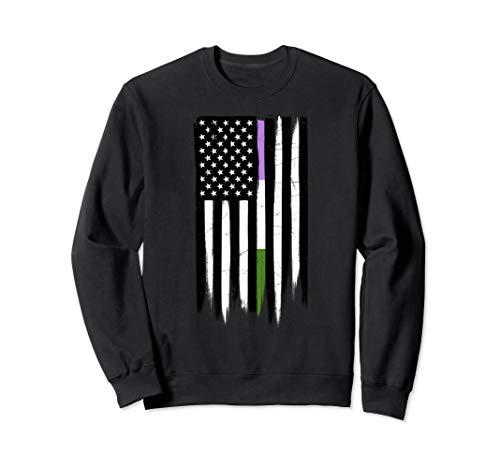 Genderqueer Pride Thin Line American Flag Sweatshirt