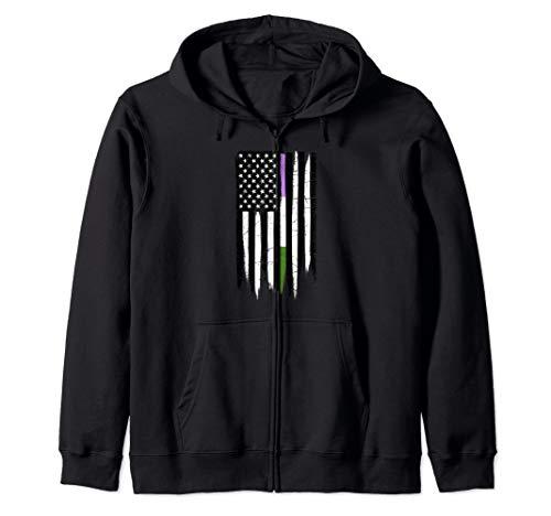 Genderqueer Pride Thin Line American Flag Zip Hoodie