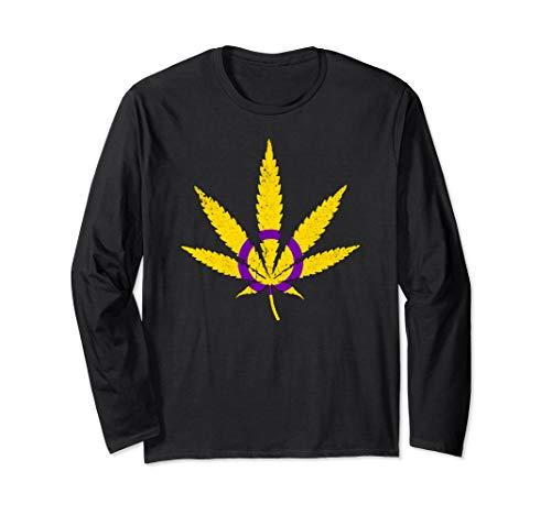 Intersex Pride Flag Marijuana Pot Leaf Long Sleeve T-Shirt