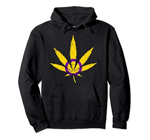 Intersex Pride Flag Marijuana Pot Leaf Pullover Hoodie