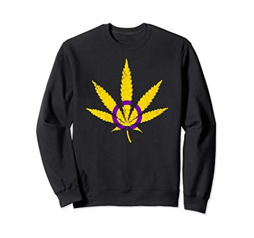 Intersex Pride Flag Marijuana Pot Leaf Sweatshirt