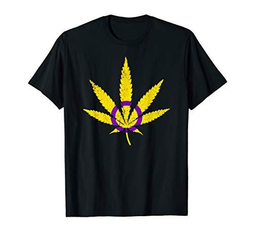 Intersex Pride Flag Marijuana Pot Leaf T-Shirt