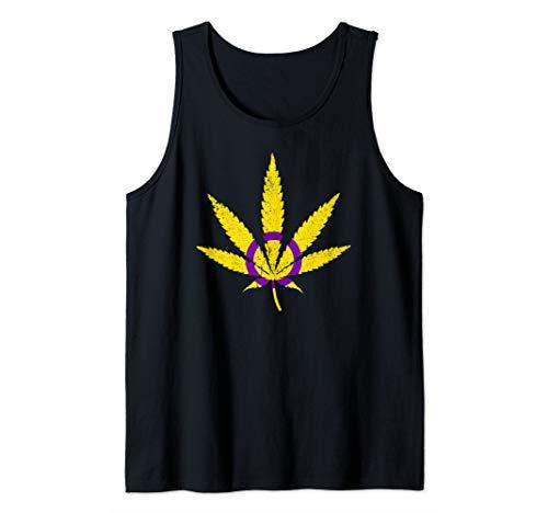 Intersex Pride Flag Marijuana Pot Leaf Tank Top