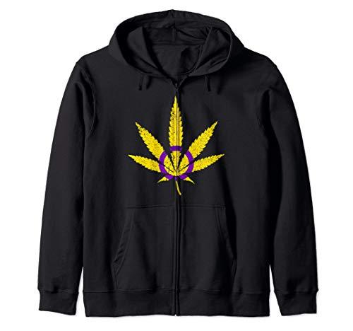 Intersex Pride Flag Marijuana Pot Leaf Zip Hoodie