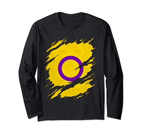 Intersex Pride Flag Ripped Reveal Long Sleeve T-Shirt