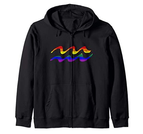 LGBT Gay Pride Flag Aquarius Zodiac Sign Zip Hoodie