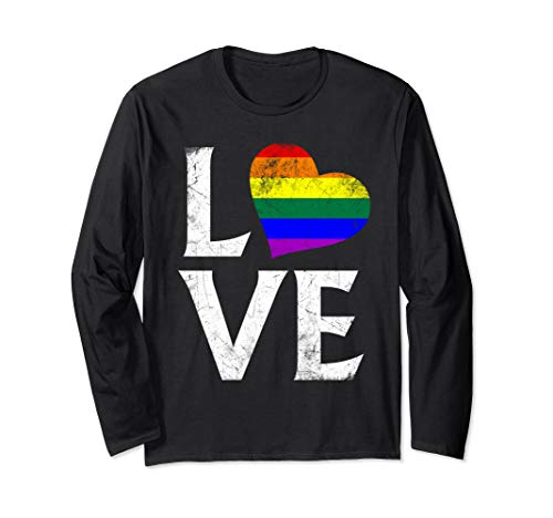 LGBT Gay Pride Flag Heart Stacked Love Long Sleeve T-Shirt