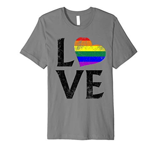 LGBT Gay Pride Flag Heart Stacked Love Premium T-Shirt