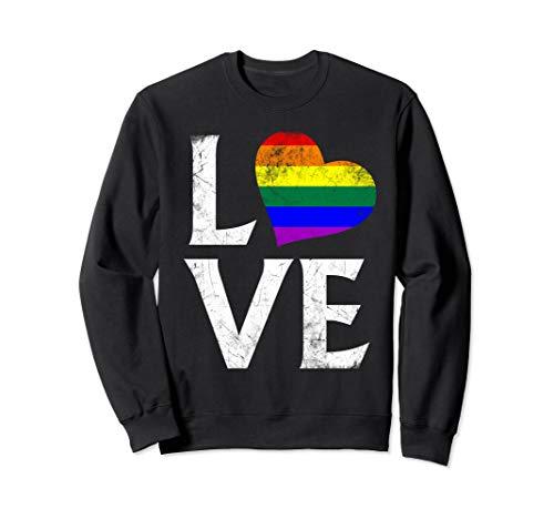 LGBT Gay Pride Flag Heart Stacked Love Sweatshirt