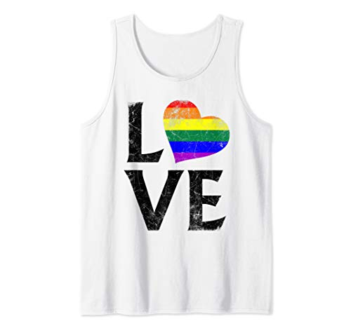 LGBT Gay Pride Flag Heart Stacked Love Tank Top