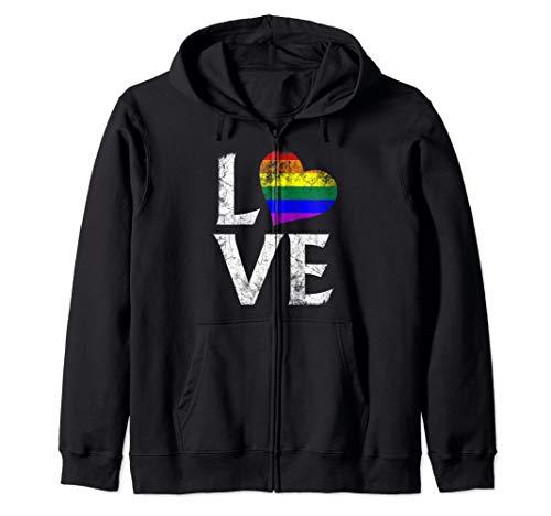 LGBT Gay Pride Flag Heart Stacked Love Zip Hoodie
