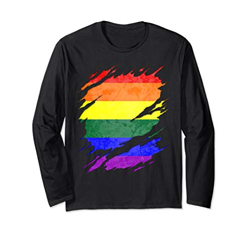 LGBT Gay Rainbow Pride Flag Ripped Reveal Long Sleeve T-Shirt