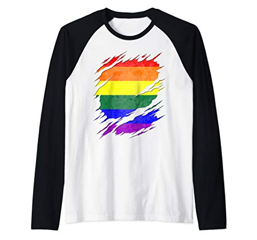 LGBT Gay Rainbow Pride Flag Ripped Reveal Raglan Baseball Tee