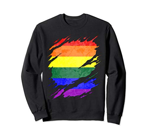 LGBT Gay Rainbow Pride Flag Ripped Reveal Sweatshirt