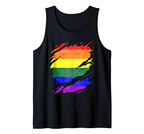 LGBT Gay Rainbow Pride Flag Ripped Reveal Tank Top
