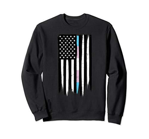 LGBT Transgender Pride Thin Line American Flag Sweatshirt