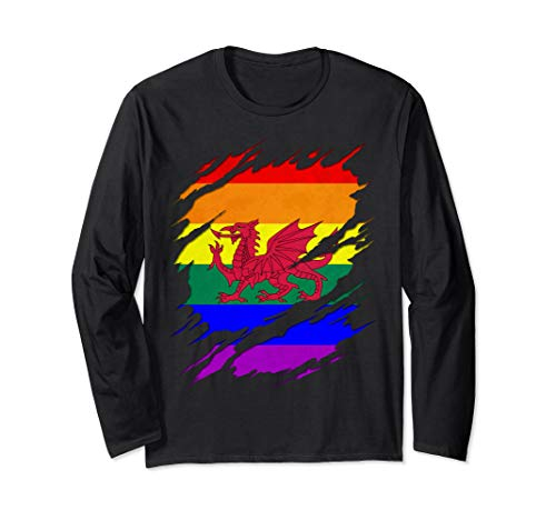 LGBT Welsh Flag Ripped Reveal Long Sleeve T-Shirt