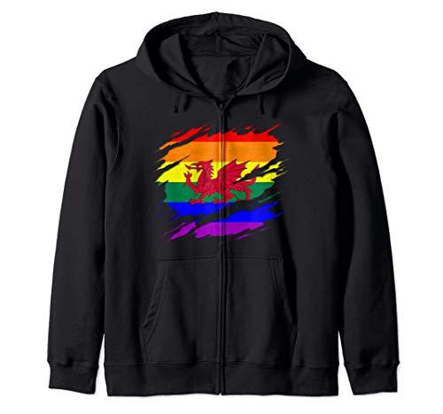 LGBT Welsh Flag Ripped Reveal Zip Hoodie