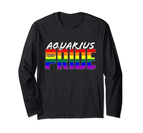 LGBTQ Gay Aquarius Pride Flag Zodiac Sign Long Sleeve T-Shirt