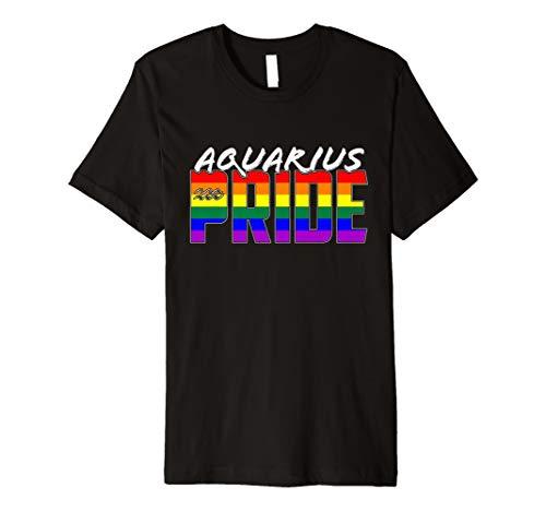 LGBTQ Gay Aquarius Pride Flag Zodiac Sign Premium T-Shirt