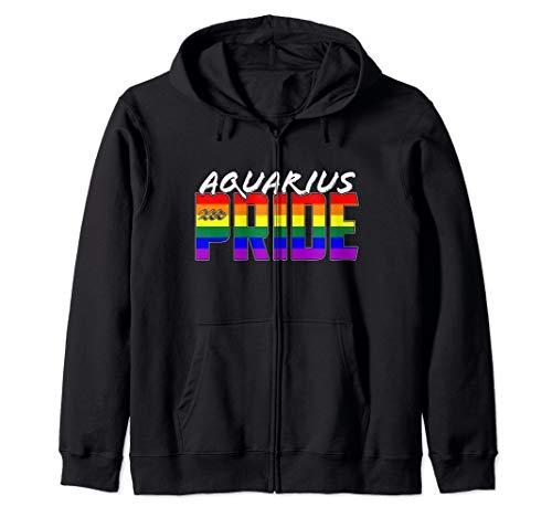 LGBTQ Gay Aquarius Pride Flag Zodiac Sign Zip Hoodie