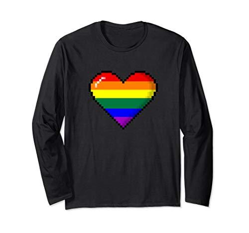 LGBTQ Rainbow Pride 8-Bit Pixel Heart Long Sleeve T-Shirt