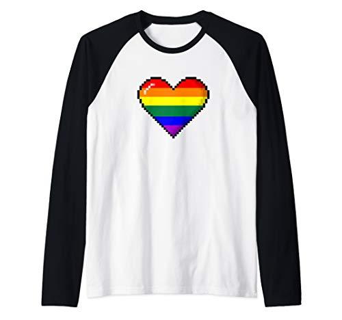 LGBTQ Rainbow Pride 8-Bit Pixel Heart Raglan Baseball Tee