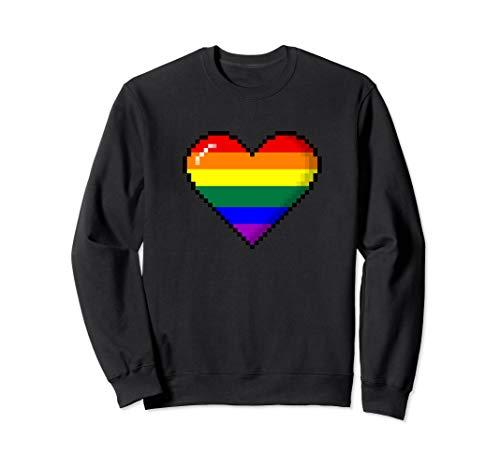 LGBTQ Rainbow Pride 8-Bit Pixel Heart Sweatshirt