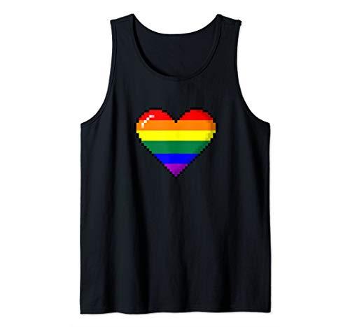 LGBTQ Rainbow Pride 8-Bit Pixel Heart Tank Top
