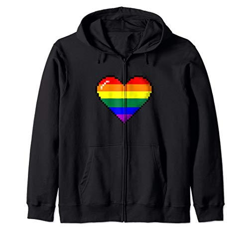 LGBTQ Rainbow Pride 8-Bit Pixel Heart Zip Hoodie