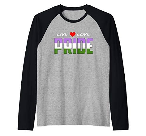 Live Love Pride - Genderqueer Pride Flag Raglan Baseball Tee