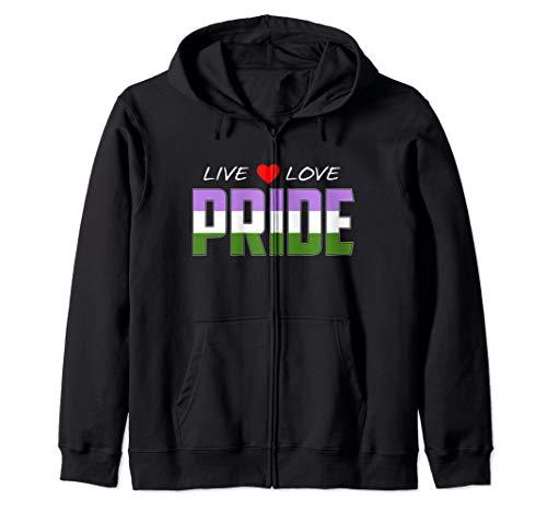 Live Love Pride - Genderqueer Pride Flag Zip Hoodie