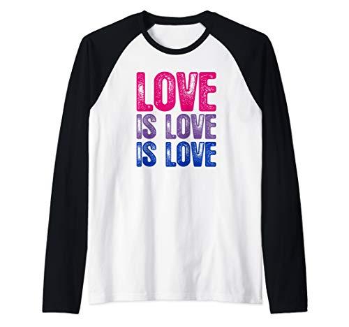 Love is Love is Love Bisexual Pride Raglan Baseball Tee